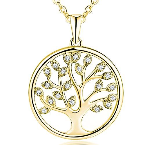 JO WISDOM Collar Colgante Arbol de la vida Plata de ley 925 3A Circonita Mujer Joyería con baño de oro amarillo