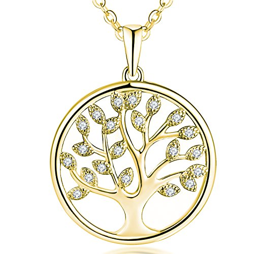 JO WISDOM Tree of Life Necklace,925 Sterling Silver Family Tree Pendant Necklace with Yellow Gold Plated,Jewellery for Women