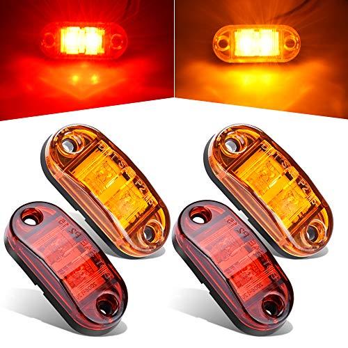 4Pcs 2 LED Side Marker Light 2.5' Oval Trailer Truck Fender Light Surface Mount Little Boat Marine Led Lights RV Camper Accessories, IP67 Waterproof DOT Certified [2 Amber and 2 Red, 12V]