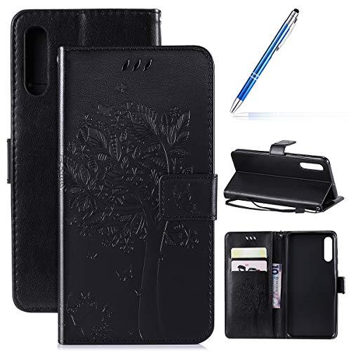 Samsung Galaxy A50 hoesje PU lederen hoesje portemonnee hoesje glanzend bling cover glitter notitieboek magnetische Flip Stand Cover Samsung Galaxy A50 Zwart