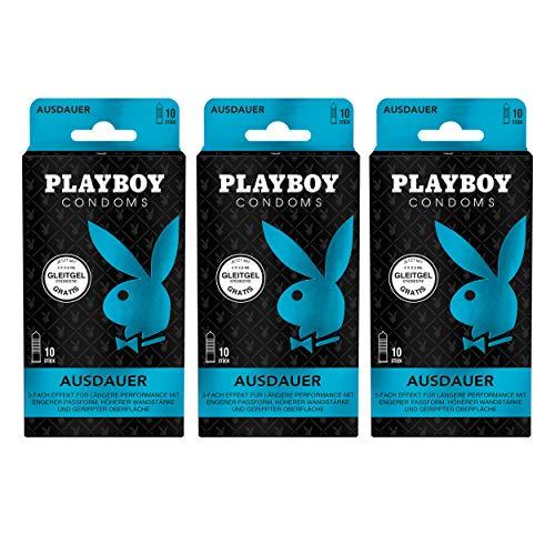 Playboy Condoms Kondome Ausdauer, Verhütungsmittel, 3-fach Effekt, mit Gleitgel gratis, 52 mm, 3 x 10 Stück
