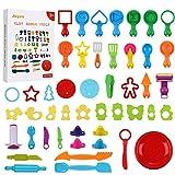 Anpro 47 STK Knetwerkzeug Teigwerkzeuge Set,Kinder Knete Zubehör Spielzeug, Knete Werkzeug...