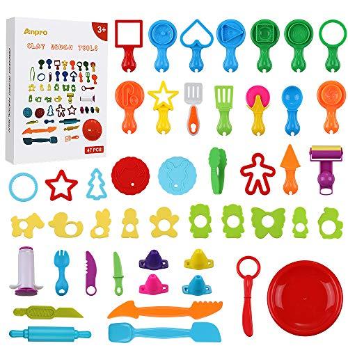 Anpro 47 STK Knetwerkzeug Teigwerkzeuge Set,Kinder Knete Zubehör Spielzeug, Knete Werkzeug Ausstechformen Küchenspielzeug