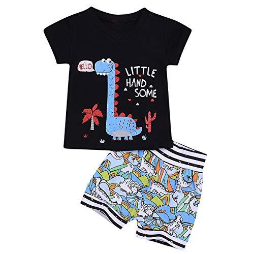 Borlai - Juego de ropa de algodón para bebé (2 piezas), diseño de dinosaurio, para verano, camiseta y pantalones cortos para niños de 0 a 3 años, regalo de cumpleaños