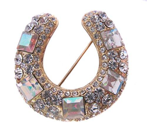 Broche con forma de Boutique de Diamante dorado blanco con una tira de brillantes Lucky broche con forma de colgante con forma de herradura