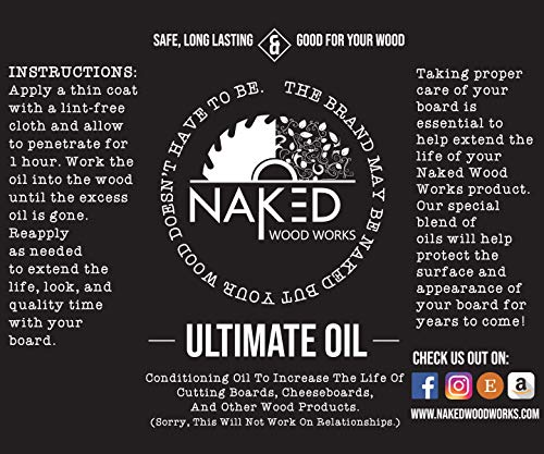 Conditioning Cutting Board Oil - Food Safe Oil Mixture - Wood Preservative - Naked Wood Works