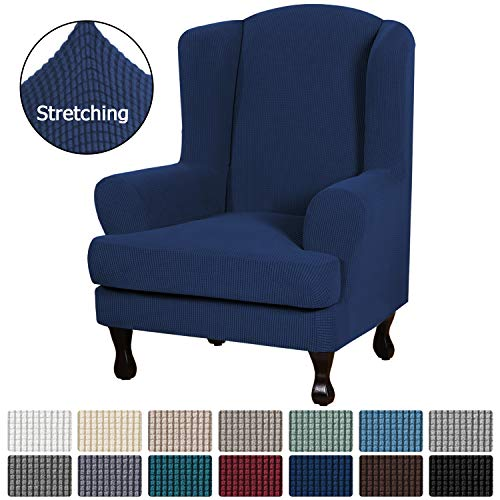 H.VERSAILTEX High Stretch Modern Spandex Sofa Cover/Wing Chair Slipcover 2 Piece Wing Back Arm Chair Furniture Cover Slipcover, Machine Washable Jacquard Knitted Fabric Stay in Place, Navy