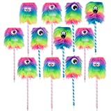 Kicko Rainbow Monster Pen - Pack of 12 Silly-Faced Ballpens - 10-inch Bug Eye Pens Ideas, Party Favors, School, and Office Rewards, Collections, Christmas, Birthdays, and Carnivals