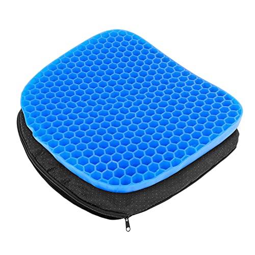 DEHUA Cojín de asiento, cojín de gel, transpirable, biónico, cojín ergonómico con funda de tela antideslizante, para coche, oficina, escuela, silla de ruedas, familias, color azul