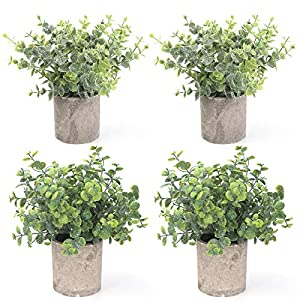 Silk Flower Arrangements BOMAROLAN 4 Pcs Mini Potted Plastic Artificial Green Plants, Fake Topiary Shrubs Fake Plant, Small Faux Greenery, for Bathroom Home Office Desk Decorations (Eucalyptus Leaves)