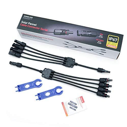 MC4 Solarstecker Y Typ Solar Verteiler Stecker Solar Panel Photovoltaik Steckverbinder mit Schraubenschlüssel SOMELINE MC4 Kabelstecker M/FFFF & F/MMMM (1 Paar)