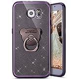 Kompatibel mit Galaxy S6 Edge Hülle,Galaxy S6 Edge Handyhülle,[Bär Handy Ringhalter] Galaxy S6 Edge TPU Silikon Gel Bumper Case Handytasche Glänzend Glitzer Strass Schutzhülle Tasche,Schwarz