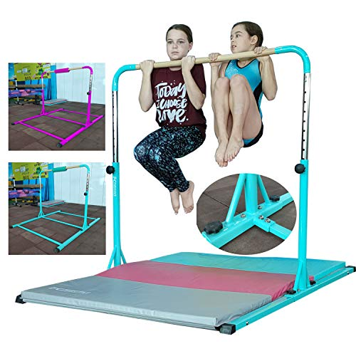 FC FUNCHEER Expandable Gymnastics kip bar with Fiberglass Cross bar & 304 Stainless Inserting Adjustable arm and Folding Gymnastic mat,Safe Training for Children