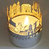 13gramm Augsburg-Skyline Windlicht Schattenspiel Souvenir, 3D Edelstahl Aufsatz für Kerze inkl. Karte