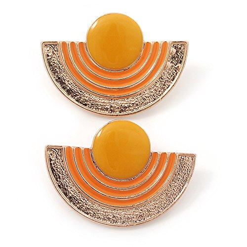 Amarillo, naranja de esmalte de 'media luna' egipcio pendientes del perno prisionero en chapado en oro - 45 mm de anchura