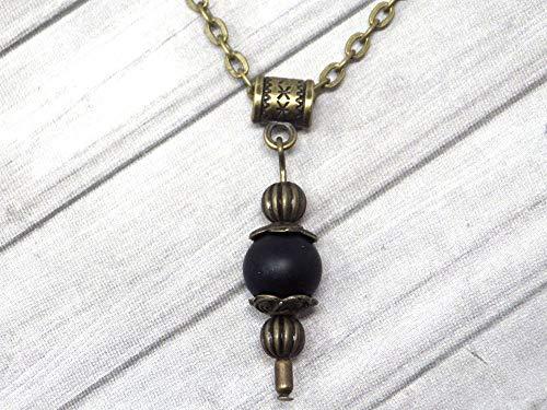 Collar con colgante de estilo vintage para mujer en ágata esmerilada negra montado sobre una cadena de bronce antiguo