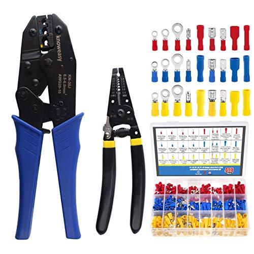 Wire Terminals Crimper Kit, Knoweasy Insulated Wire Terminals Connectors Ratcheting Crimper Tool 22-10AWG with 419Pcs Insulated Butt Bullet Spade Ring Crimp Terminal Connector and Wire Stripper
