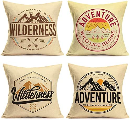 Fukeen Set of 4 Camping Mountain Pillow Cover EST 1029 Wilderness Adventure Tree Sun Decorative product image
