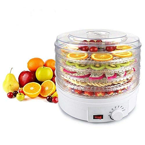 KanakMall Plastic Electric Transparent 5 Tier Countertop Dry Food Saver/Dehydrator/Preserver Jerky Maker Machine with Adjustable Temperature Control (White)