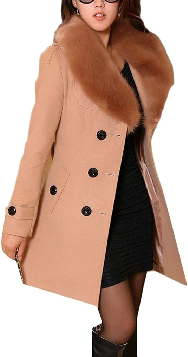 LEISHOP Women Double Breasted Overcoat Faux Fur Collar Wool Blend Pea Coats