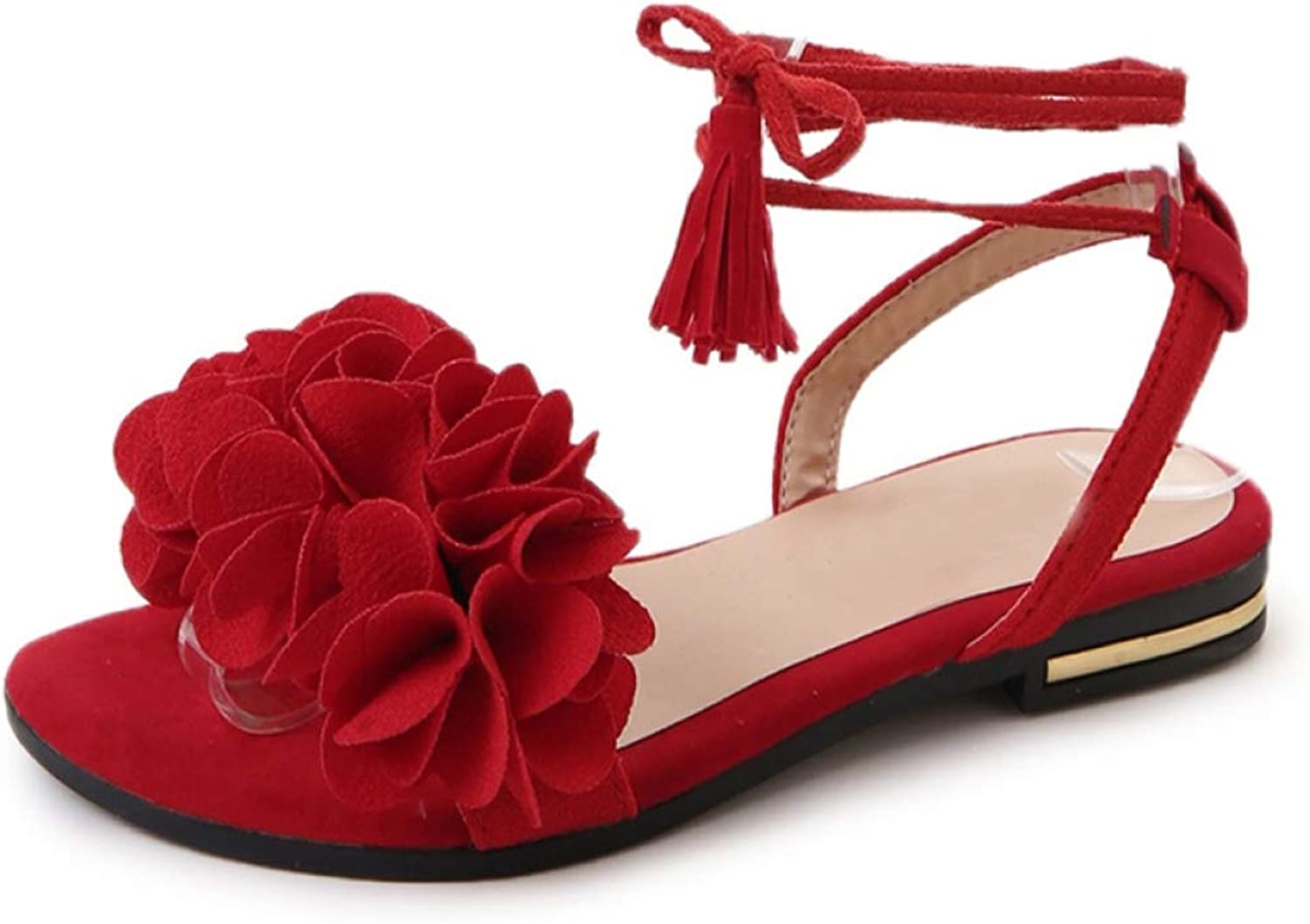 T-JULY Sandals for Women Platform Flats Casual Soft Flat shoes Flock Ruffles Lace up Open-Toe Slingback Footwear in Black Red for Summer