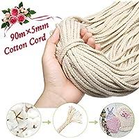Decoraciones hechas a mano Cuerda de algod/ón natural que hace punto trenzado de hilo decorativo Cord/ón de equipaje Cuerda atada