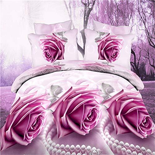 LYzpf 3D Bettwäsche Pfau Vierteiliges Set Bett Bettwaren Super Weiche Mikrofaser Atmungsaktive Baumwoll Bettbezug & Kissenbezug Pflegeleicht,Pink-Rose,1.8m
