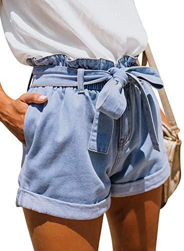 Sidefeel Women Paper Bag Waist Rolled Denim Jean Shorts Small Light Blue