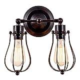 Aplique de pared Industrial Lámpara Rústica para Loft Antiguo Enchufe de alambre Ajustable Edison Vintage Metal Retro Lámparas para gazebo de dormitorio (sin bombilla) (con 2 luces) (Óxido)