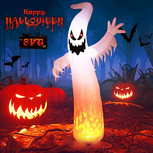 Albrillo 8 Foot Halloween Inflatables Ghost, Blow Up Halloween Decorations with LED Lights, Decor for Yard Party Garden Patio Trick or Treat