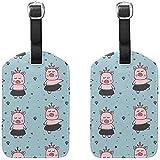 Kleine Ballerinas Schweine Gepäckanhänger Reisetaschenetiketten für Gepäck Koffer 2er Pack