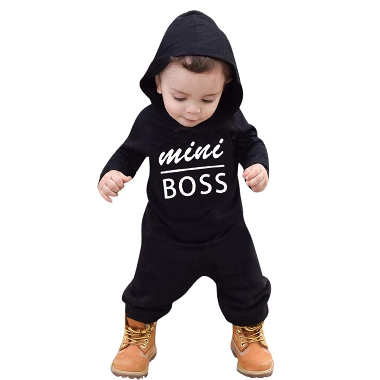 Vacally 子供服 ベビー用 女の子 男の子 子供 赤ちゃん ロングスリーブ レター印刷 フード付きのローブ セータージャンプスーツ ファッション 可愛い ベビ用ドレス  柔らかい おしゃれ  幼児 赤ちゃん ブラック ((12-24M))