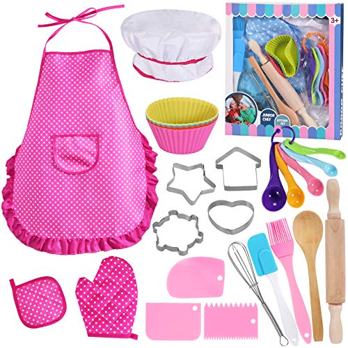 Kids Cooking and Baking Set - 25 Pcs Chef Costume Role Play for 3-8 Year Old Little Girls, Includes Kids Apron, Chef Hat, Mitt, Utensils, Cake Cutter, Cupcake Moulds for Toddler Dress Up Kids Gift