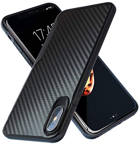 Kitoo Designed for iPhone Xs Max Case, Carbon Fiber Pattern, 10ft. Drop Tested, Wireless Charging - Black