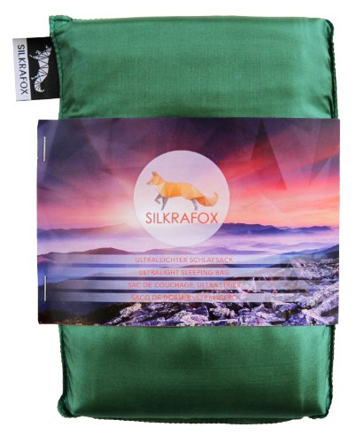 Silkrafox, Sacco a Pelo Ultraleggero in Seta Artificiale, Sacco Lenzuolo, Verde