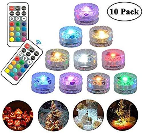 10 Pack Tauch LED Lichter Ferngesteuertes Unterwasser Teelicht Wasserdichte Mehrfarbige RGB Lichter Batteriebetriebene Akzentbeleuchtung für Vasenbasis Whirlpool Schwimmbad Aquarium Brunnen Dekoration