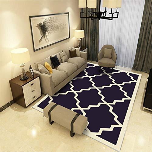 DJHWWD Vloerkleed, minimalistisch, ademend, donkerblauw, groot tapijt met ruitpatroon in meerdere maten, bestand tegen slijtage