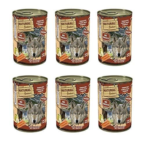 NATURAL GREATNESS - Comida Húmeda para Perros de Venado con Zanahoria, Pera y Diente de León. Pack de 6 Unidades - 400 gr por Lata | ANIMALUJOS
