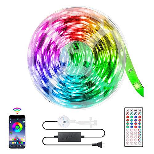 YIZHIYA Tiras LED,IP20,con Control Remoto de 44 Teclas,Luces de Tira LED Inteligentes Bluetooth RGB 5050,Admite Cambio de Color de sincronización de música,15M
