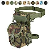 Military Tactical Drop Leg Bag Tool Fanny Thigh Pack Leg Rig Utility Pouch Paintball Airsoft Motorcycle Riding Thermite Versipack, Jungle Camouflage