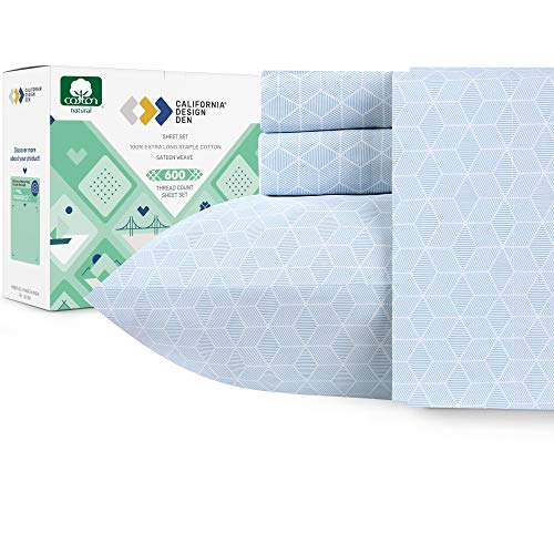 California Design Den 600 Thread Count Best Bed Sheets 100% Cotton Sheets Set - Extra Long-Staple Cotton Sheet for Bed 4 Piece Set with Deep Pocket (Urban HEX Blue, King Sheet Set - 600 TC)