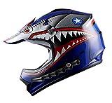WOW Youth Kids Motocross BMX MX ATV Dirt Bike Moutain Helmet Shark Blue