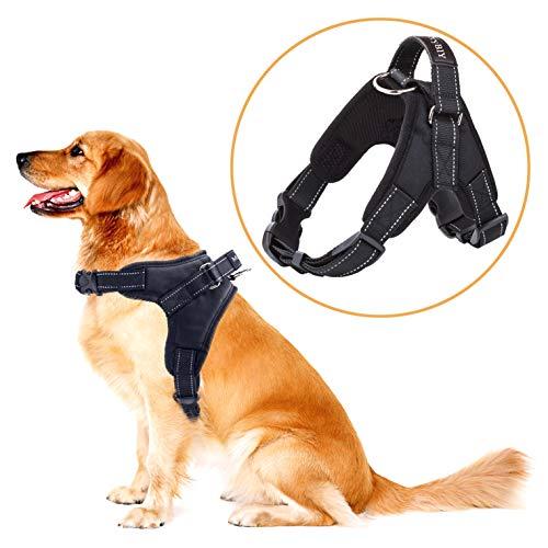 MerryBIY Hundegeschirr Heavy Duty Big Hunde Geschirr Verstellbar Pet Dog Vest Harness Welpengeschirr Weich Gepolstertes Mittlere Große Hund Brustgeschirr Weste für Training oder Walking (Schwarz, XL)