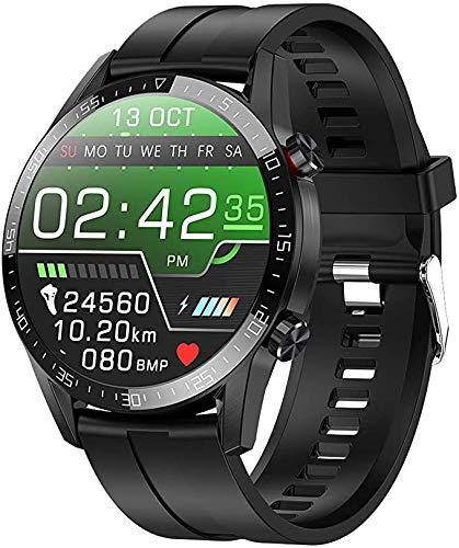 ZBHWYD Reloj inteligente para hombre y mujer, de silicona, impermeable, llamada Bluetooth, control de frecuencia cardíaca y medición de la presión arterial, color negro