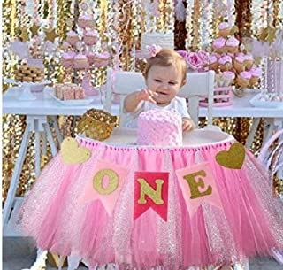 Kaptin 1st Birthday Baby Gold Pink Tutu Skirt and Banner for High Chair Decoration for Party Supplies (Pink)