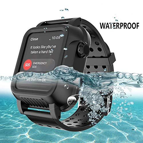XTCASE Custodia Impermeabile per iWatch Series 3 42mm con Cinturino in Silicone, Antiurto AntiGraffio Waterproof Cover con costruito nel Proteggi Schermo - Nero