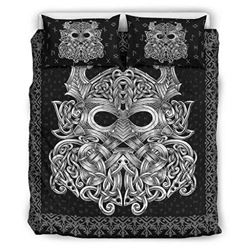 Knowikonwn Juego de ropa de cama de 3 piezas con funda de edredón y fundas de almohada, diseño de Odin y su lobo de Viking moderno, 264 x 229 cm, color blanco