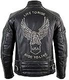 Motorrad Lederjacke mit einer Adler Prägung (L)