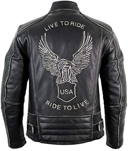 Motorrad Lederjacke mit einer Adler Prägung