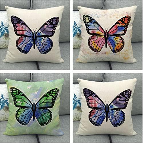 JOVEGSRVA Juego de 4 fundas de cojín de mariposas coloridas y resistentes al agua, para patio, jardín, sala de estar, sofá, decoración de 45 x 45 cm
